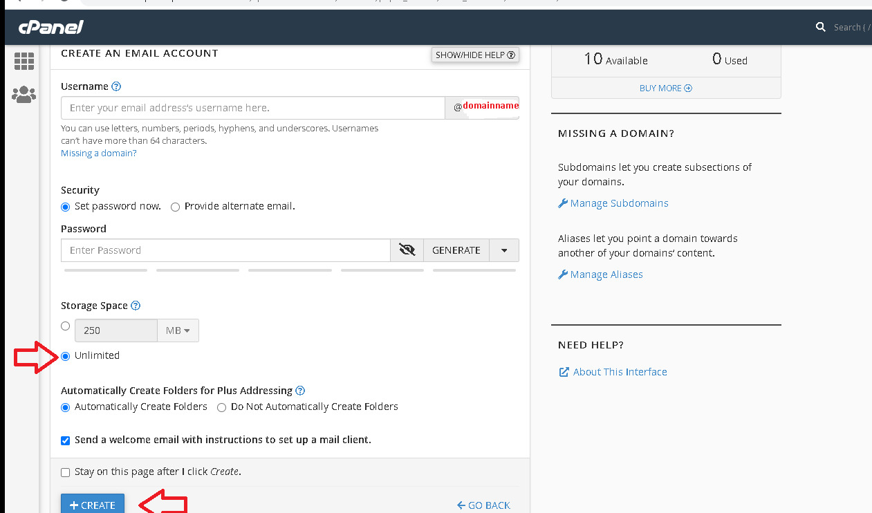 HOW TO CREATE EMAILS ON THE CPANEL