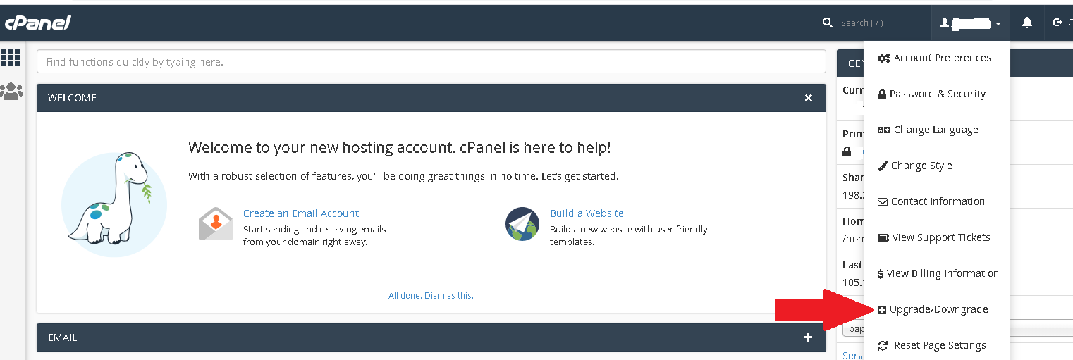 How to upgrade/downgrade your hosting package through the cpanel