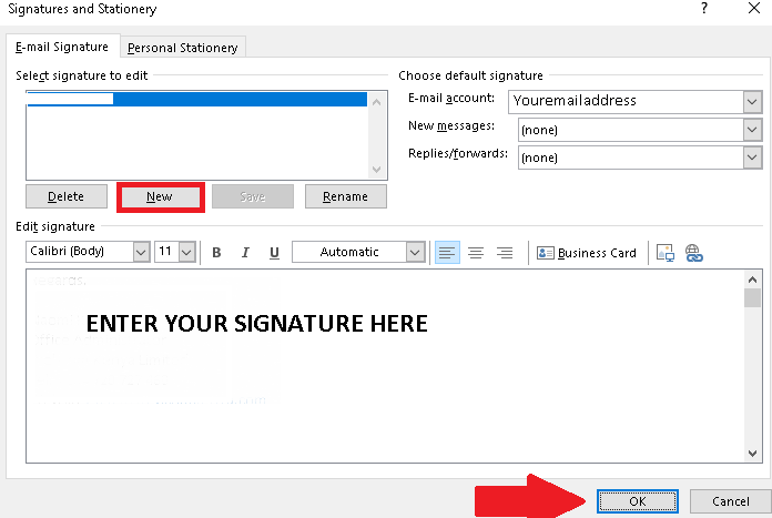How to create email Signature through MS Outlook