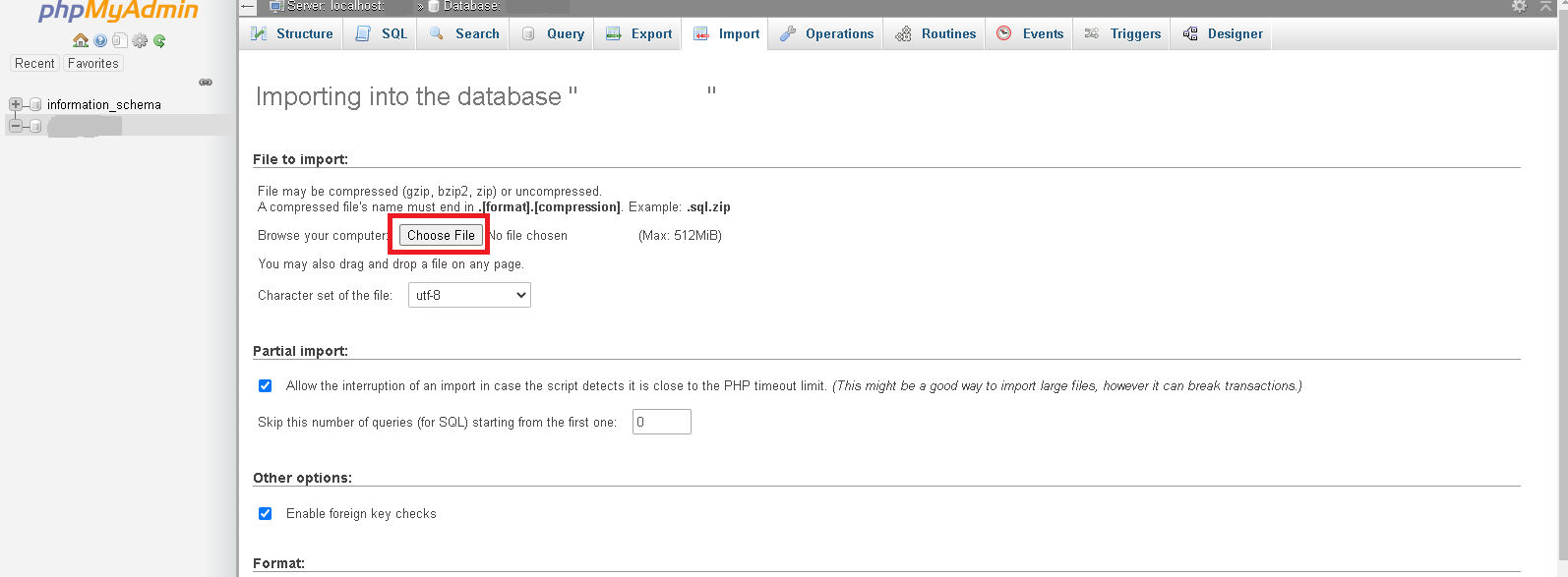 HOW TO IMPORT YOUR DATABASE THROUGH THE CPANEL